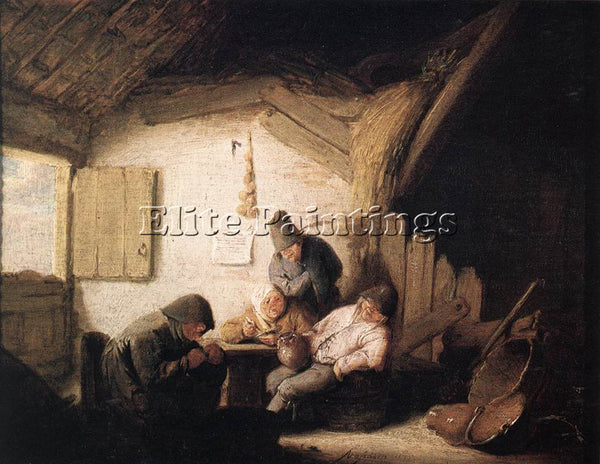 ADRIAEN VAN OSTADE VILLAGE TAVERN WITH FOUR FIGURES ARTIST PAINTING REPRODUCTION