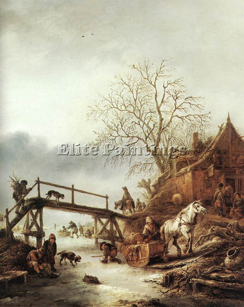ISACK VAN OSTADE A WINTER SCENE ARTIST PAINTING REPRODUCTION HANDMADE OIL CANVAS