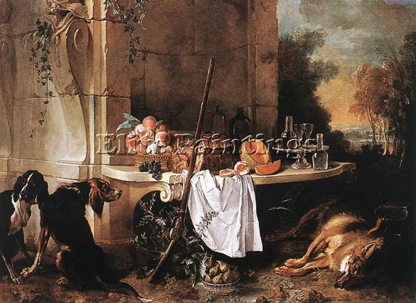 JEAN-BAPTISTE OUDRY  DEAD WOLF ARTIST PAINTING REPRODUCTION HANDMADE OIL CANVAS