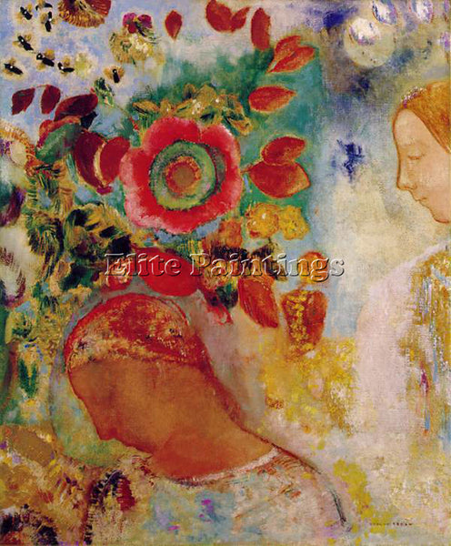 ODILON REDON DEUX JEUNES FILLES ARTIST PAINTING REPRODUCTION HANDMADE OIL CANVAS