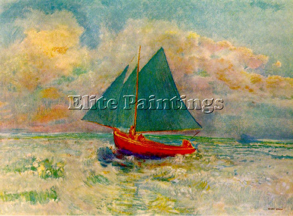 ODILON REDON RED BOAT ARTIST PAINTING REPRODUCTION HANDMADE OIL CANVAS REPRO ART