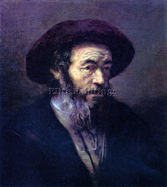 REMBRANDT OLD MAN WITH A FUR CAP ARTIST PAINTING REPRODUCTION HANDMADE OIL REPRO