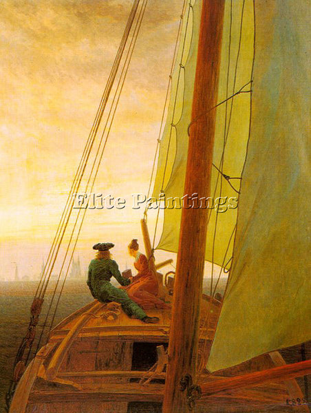 CASPAR DAVID FRIEDRICH ON BOARD A SAILING SHIP ARTIST PAINTING REPRODUCTION OIL