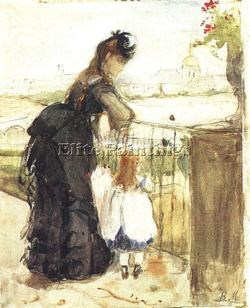 BERTHE MORISOT ON THE BALCONY ARTIST PAINTING REPRODUCTION HANDMADE CANVAS REPRO