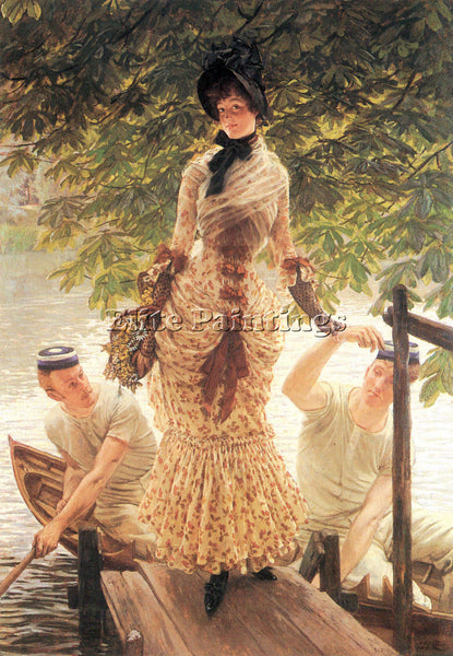 TISSOT ON THE THAMES ARTIST PAINTING REPRODUCTION HANDMADE OIL CANVAS REPRO WALL