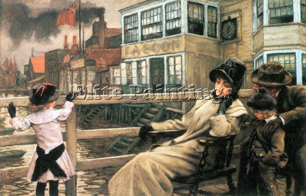 TISSOT ON THE FERRY WAITING 2 ARTIST PAINTING REPRODUCTION HANDMADE CANVAS REPRO