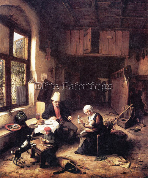 ADRIAEN VAN OSTADE A 68COTTAGE ARTIST PAINTING REPRODUCTION HANDMADE OIL CANVAS