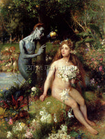 BELGIAN OUDERAA PIERRE JAN VAN DER THE TEMPTATION OF EVE ARTIST PAINTING CANVAS