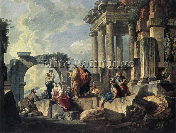 GIOVANNI PAOLO PANNINI APOSTLE PAUL PREACHING ON THE RUINS ARTIST PAINTING REPRO