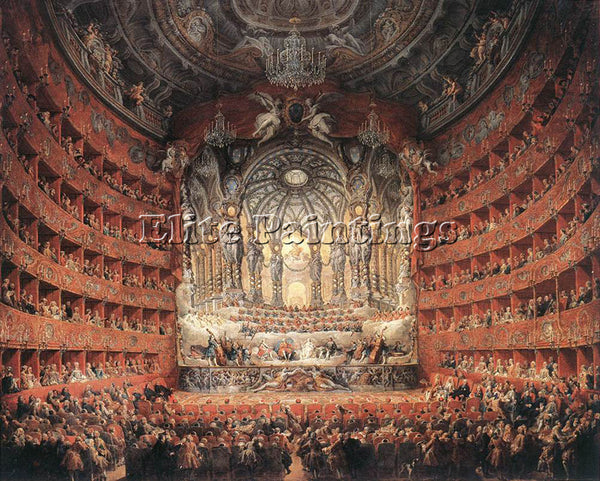 GIOVANNI PAOLO PANNINI MUSICAL FETE ARTIST PAINTING REPRODUCTION HANDMADE OIL