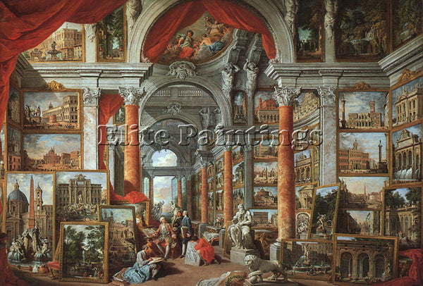 GIOVANNI PAOLO PANNINI PICTURE GALLERY WITH VIEWS OF MODERN ROME ARTIST PAINTING
