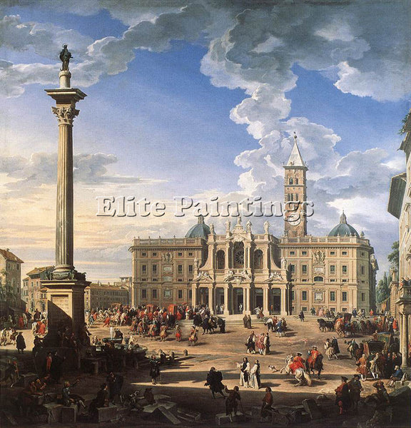 GIOVANNI PAOLO PANNINI THE PIAZZA AND CHURCH OF SANTA MARIA MAGGIORE OIL CANVAS