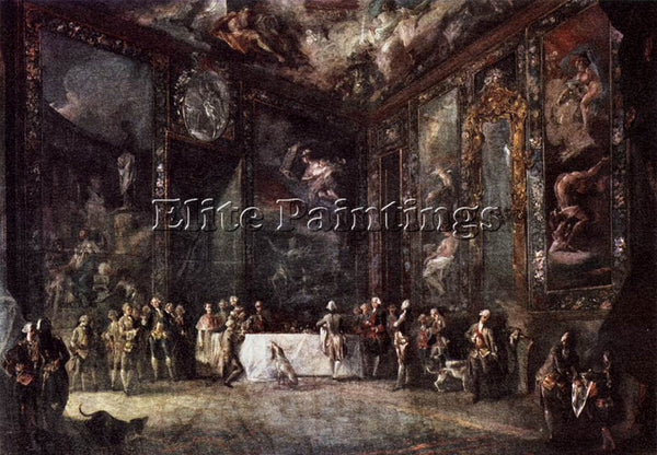 SPANISH PARET Y ALCAZAR LUIS CHARLES III DINING BEFORE THE COURT ARTIST PAINTING