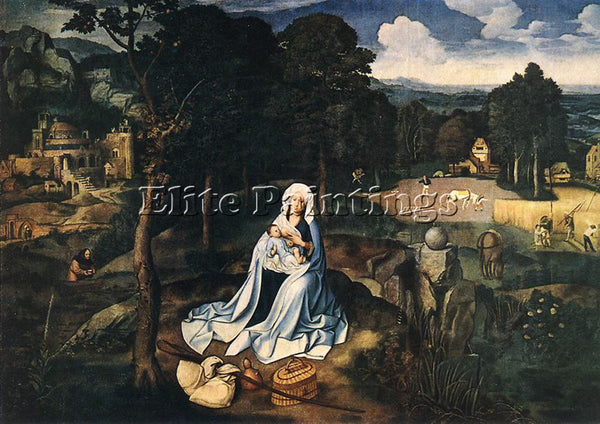 JOACHIM PATENIER REST DURING THE FLIGHT TO EGYPT ARTIST PAINTING HANDMADE CANVAS