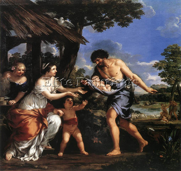 PIETRO DA CORTONA ROMULUS AND REMS GIVEN SHELTER BY FAUSTULUS PAINTING HANDMADE