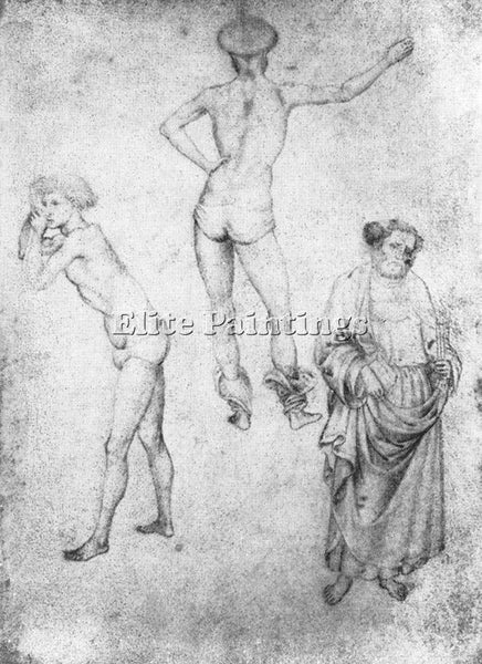 ANTONIO PISANELLO NUDE MEN AND ST PETER ARTIST PAINTING REPRODUCTION HANDMADE