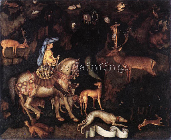 ANTONIO PISANELLO VISION OF ST EUSTACE ARTIST PAINTING REPRODUCTION HANDMADE OIL