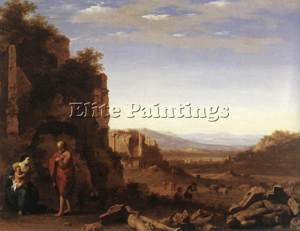 CORNELIS VAN POELENBURGH REST ON THE FLIGHT INTO EGYPT ARTIST PAINTING HANDMADE
