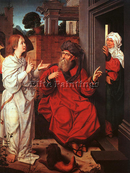 JAN PROVOST ABRAHAM SARAH AND THE ANGEL ARTIST PAINTING REPRODUCTION HANDMADE