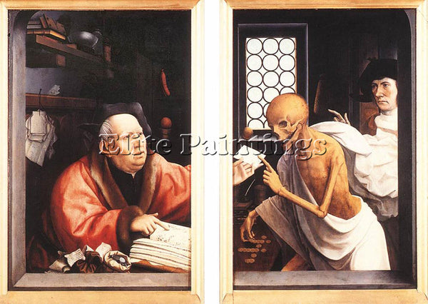 JAN PROVOST DEATH AND THE MISER ARTIST PAINTING REPRODUCTION HANDMADE OIL CANVAS