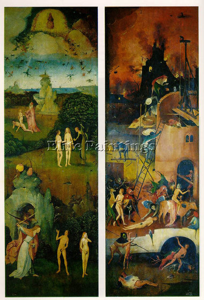 HIERONYMUS BOSCH PARADISE AND HELL LEFT AND RIGHT PANELS OF A TRIPTYCH PAINTING