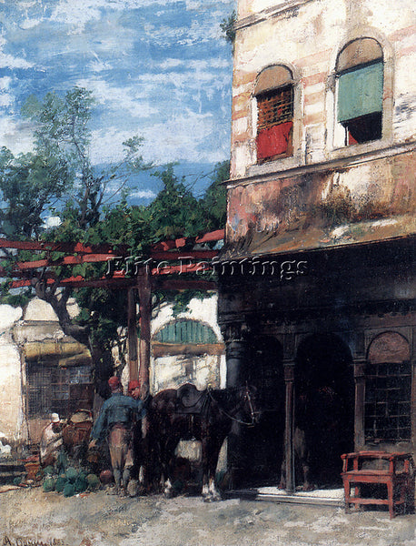 ALBERTO PASINI IN THE COURTYARD ARTIST PAINTING REPRODUCTION HANDMADE OIL CANVAS