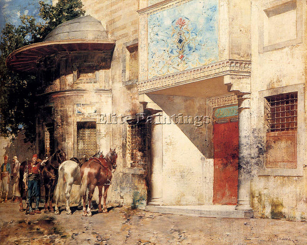 ALBERTO PASINI OUTSIDE THE MOSQUE ARTIST PAINTING REPRODUCTION HANDMADE OIL DECO