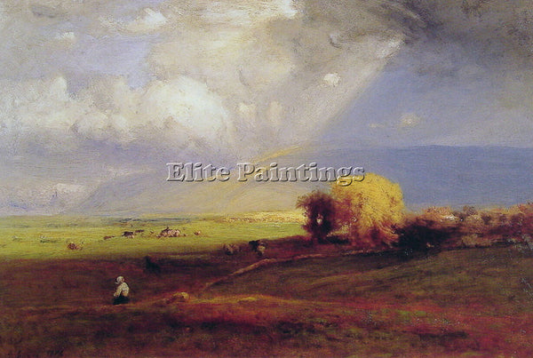 GEORGE INNESS PASSING CLOUDS PASSING SHOWER ARTIST PAINTING HANDMADE OIL CANVAS