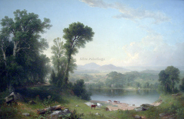 HUDSON RIVER PASTORAL LANDSCAPE BY ASHER BROWN DURAND ARTIST PAINTING HANDMADE