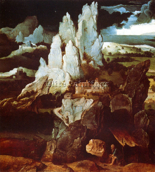 JOACHIM PATENIER ST JEROME IN A ROCKY LANDSCAPE ARTIST PAINTING REPRODUCTION OIL