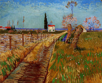 VAN GOGH PATH THROUGH A FIELD WITH WILLOWS ARTIST PAINTING REPRODUCTION HANDMADE