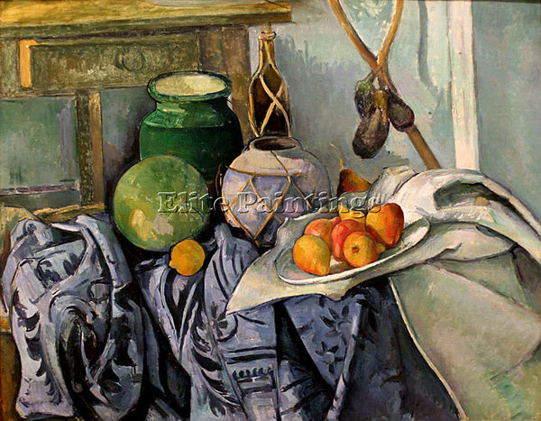 PAUL CEZANNE  STILL LIFE WITH A GINGER JAR AND EGGPLANTS MID ARTIST PAINTING OIL