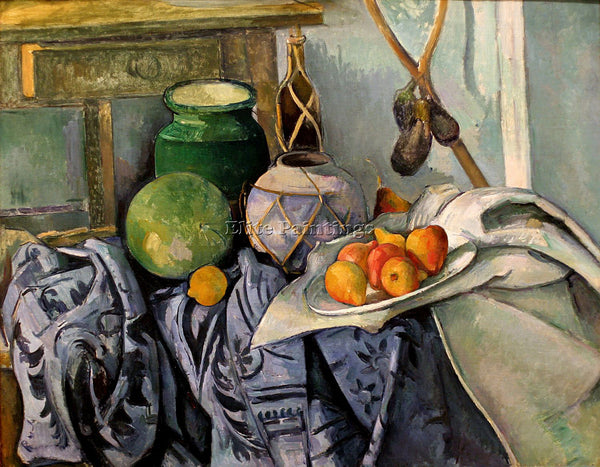 PAUL CEZANNE  STILL LIFE WITH A GINGER JAR AND EGGPLANTS ARTIST PAINTING CANVAS
