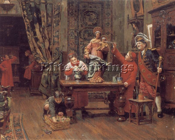 PAUL CHARLES CHOCARNE-MOREAU CHOIRBOYS IN THE SACRISTY ARTIST PAINTING HANDMADE
