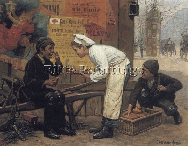 PAUL CHARLES CHOCARNE-MOREAU THE CUNNING THIEF ARTIST PAINTING REPRODUCTION OIL