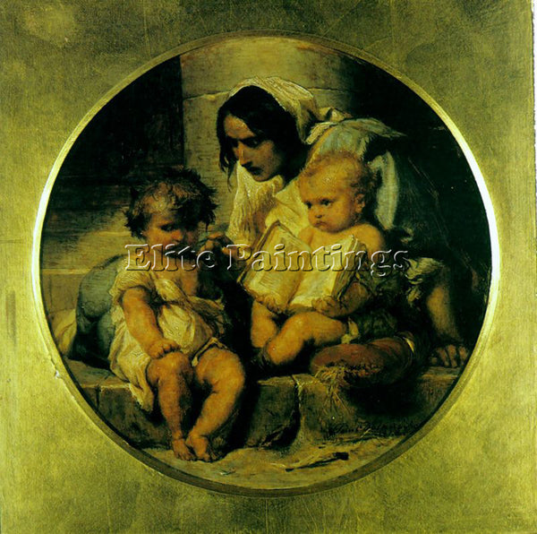 PAUL DELAROCHE A CHILD LEARNING TO READ 1848 ARTIST PAINTING HANDMADE OIL CANVAS