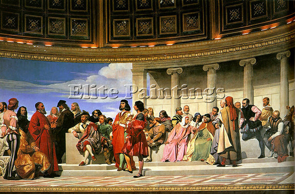 PAUL DELAROCHE HEMICYCLE OF THE ECOLE DES BEAUX ARTS 1814 LEFT PAINTING HANDMADE