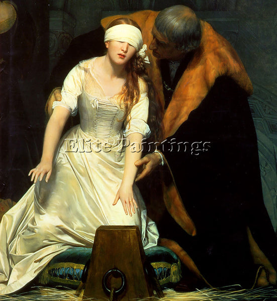 PAUL DELAROCHE THE EXECUTION OF LADY JANE GREY 1834 CENTRE ARTIST PAINTING REPRO