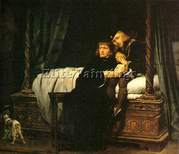PAUL DELAROCHE THE PRINCES IN THE TOWER 1830 ARTIST PAINTING HANDMADE OIL CANVAS