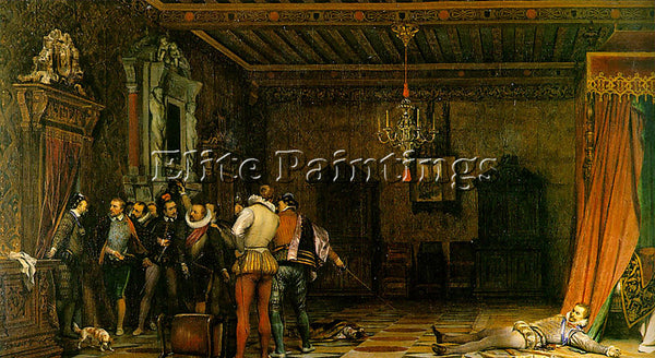 PAUL DELAROCHE ASSASSINATION 1834 ARTIST PAINTING REPRODUCTION HANDMADE OIL DECO