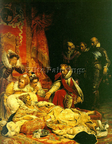 PAUL DELAROCHE DEATH OF ELIZABETH 1828 ARTIST PAINTING REPRODUCTION HANDMADE OIL