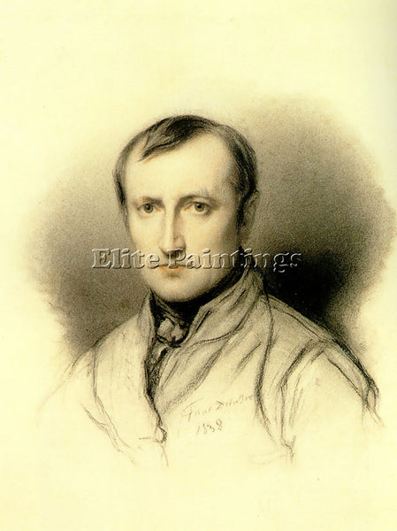 PAUL DELAROCHE SELF PORTRAIT 1838 CHARCOAL ARTIST PAINTING REPRODUCTION HANDMADE