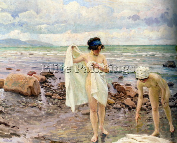 PAUL GUSTAVE FISCHER BADENDE KVINDER THE BATHERS ARTIST PAINTING HANDMADE CANVAS