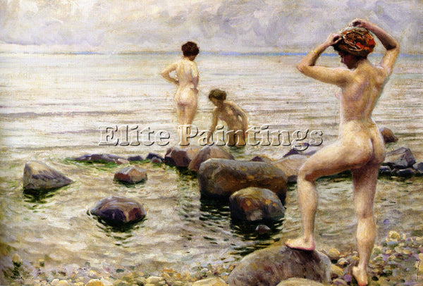 PAUL GUSTAVE FISCHER BEDENDE KVINDER A MORNING DIP ARTIST PAINTING REPRODUCTION