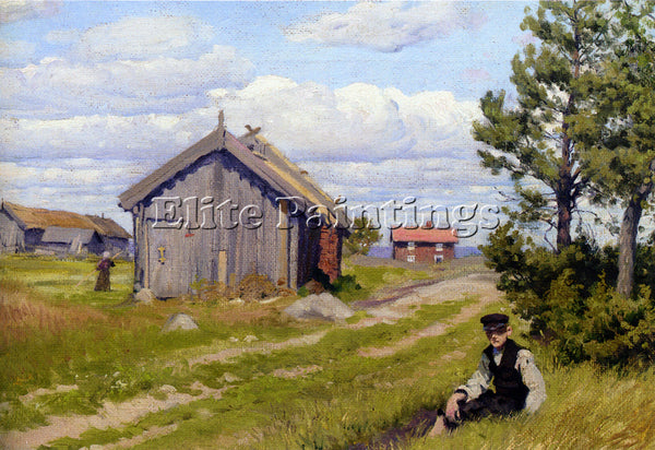 PAUL GUSTAVE FISCHER LANDIDYL FARMYARD ARTIST PAINTING REPRODUCTION HANDMADE OIL