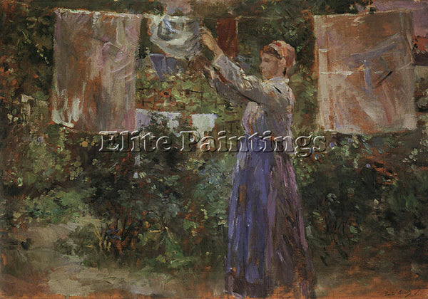 BERTHE MORISOT PEASANT HANGING OUT THE WASHING ARTIST PAINTING REPRODUCTION OIL