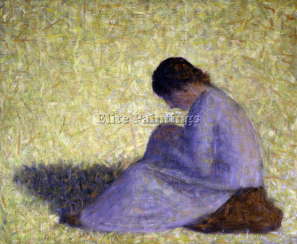 SEURAT PEASANT WOMAN SEATED IN THE GRASS ARTIST PAINTING REPRODUCTION HANDMADE