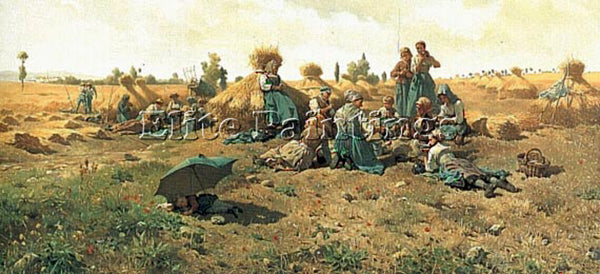 DANIEL RIDGWAY KNIGHT PEASANTS LUNCHING IN A FIELD ARTIST PAINTING REPRODUCTION