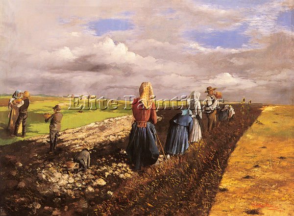 HUNGARIAN PENTELEI MOLNAR JANOS THE POTATO HARVEST ARTIST PAINTING REPRODUCTION