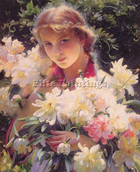 CHARLES COURTNEY CURRAN PEONIES ARTIST PAINTING REPRODUCTION HANDMADE OIL CANVAS